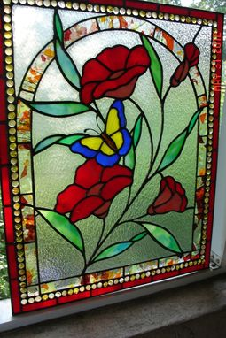 Custom Made Fire Red & Peach Flowers With A Gentle Butterfly Stained Glass Panel