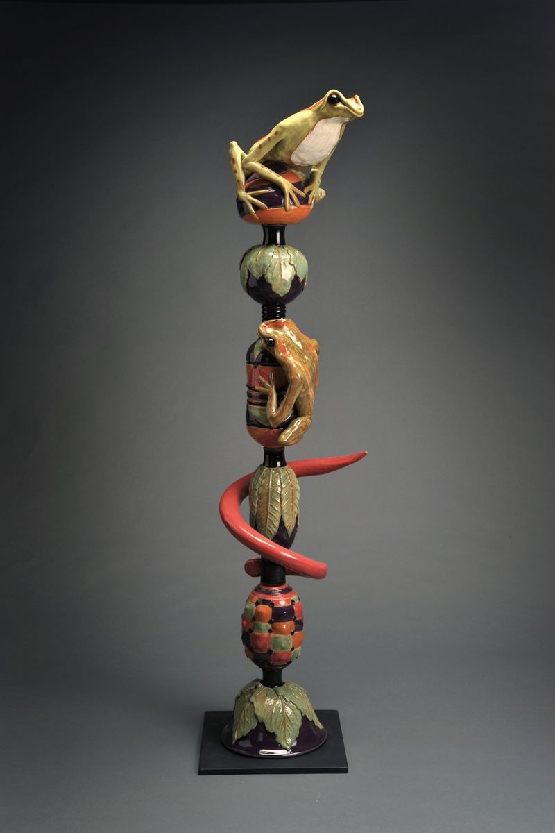 Hand Crafted Frog Totem Pole Ii By The Pot Shop