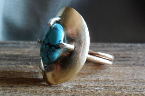 Custom Made Brass And Sterling Silver Ring With Turquoise Stone
