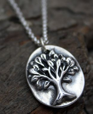 Custom Made Fine Silver - Oval Tree Necklace - $75