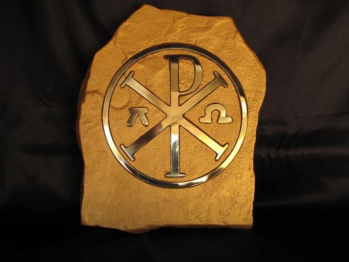 Custom Made Brass Chi - Rho Greek Tablet.