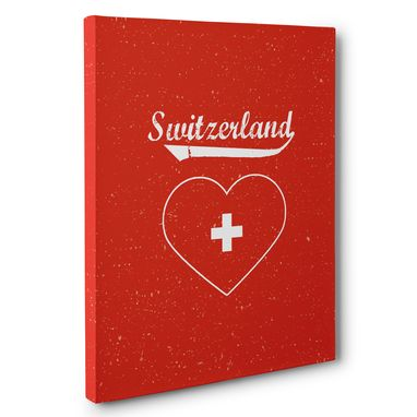 Custom Made Retro Switzerland Heart Canvas Wall Art