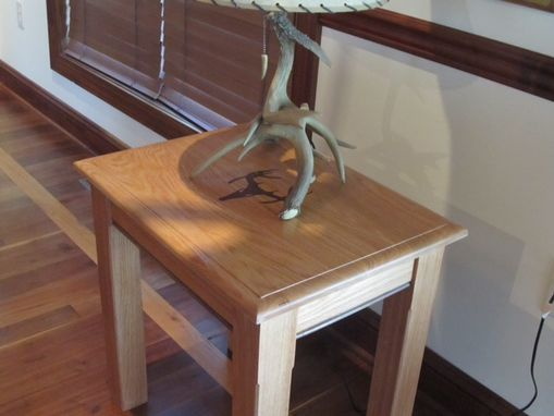 Custom Made Custom Inlay End Table- Oak With Walnut Deer Antler Inlay And Accents