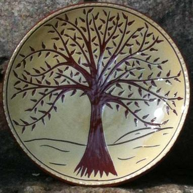 Custom Made Ceramic Plate With Large Tree And Rolling Hills In Background