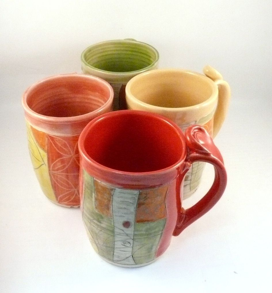 Buy Hand Made Four Coffee Mugs Set Artistic Carved And