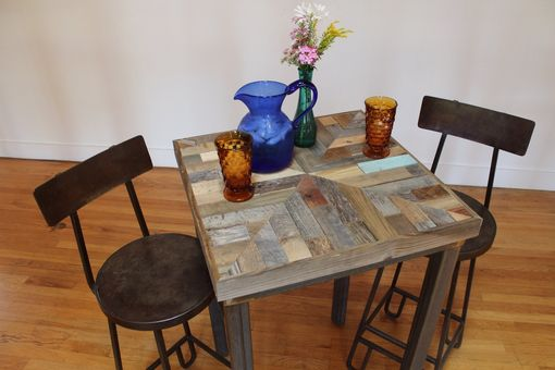 "Custom Made Rustic Reclaimed & Sustainably Harvested Wood Pub Kitchen End Table ""Mandala''"