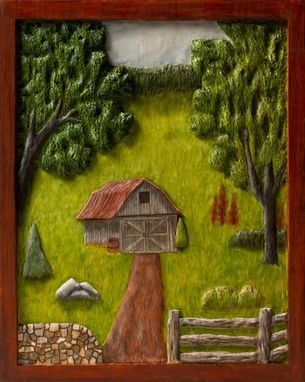 Custom Made Small Barn In A Field Woodcarving Painted In Oil Paint.