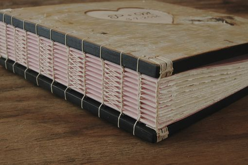 Custom Made Wedding Photo Album In Birch Bark With Carved Heart