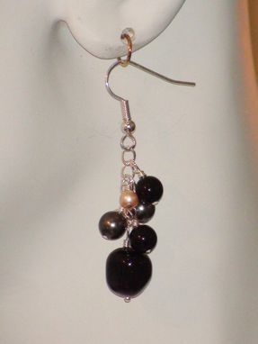 Custom Made Swarovski Pearls On A Chain Earrings - Black, Gray & Pink Pearls In Silver