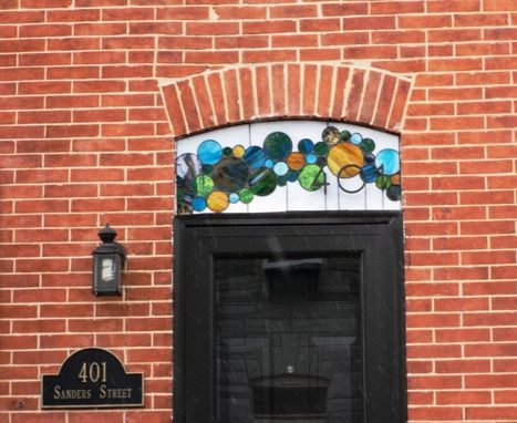 Custom Made Stained Glass Window ---Transom Contemporary Bubbles With 3d House Number (Am-45)