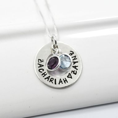 Custom Made Personalized Hand-Stamped Mother's Pendant With Birthstones