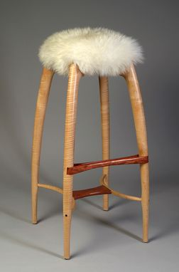Custom Made Modern Counter Height Stool, Bar Stool, Carved Solid Wood, Sheepskin Seat, Curly Maple, Bubinga