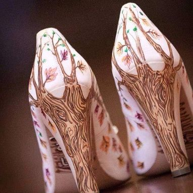 Custom Made Fall Wedding Shoes Trees Country
