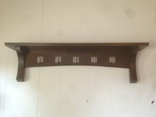 Custom Made Mission Shelf In Rift-Sawn Oak With Antique Satin Hooks