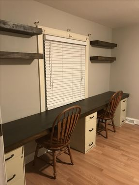 Custom Made Desk And Floating Shelves (Distressed)