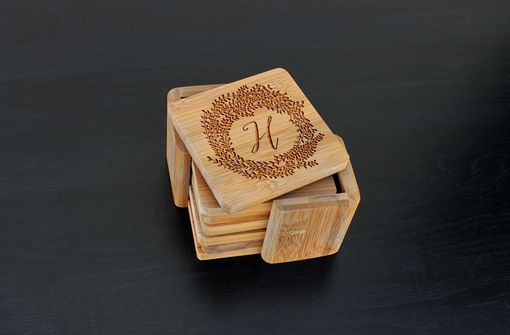 Custom Made Custom Bamboo Coasters, Custom Engraved Coasters --Cst-Bam-H Reef