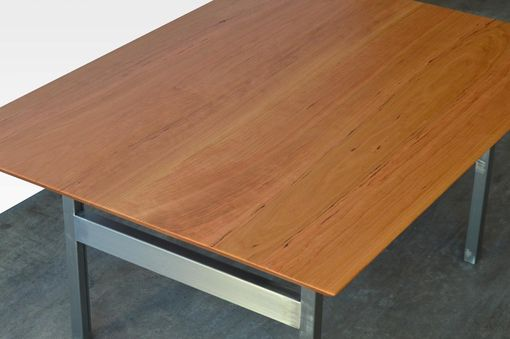 Custom Made Cherry Wood And Raw Steel Contemporary Coffee Table