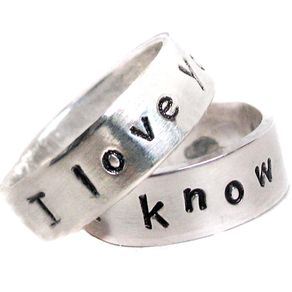 i know pair of hand stamped sterling silver rings - Nerd Wedding Rings
