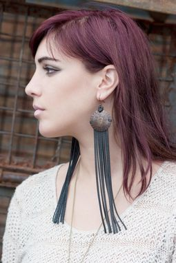 Custom Made Leather Earrings With Fringe & Vintage Copper Cross Stamped Discs