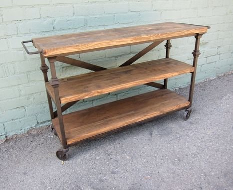 Custom Made Reclaimed Wood And Iron Display Shelf On Wheels