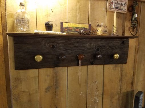Custom Made Reclaimed Shelf, Vintage Knobs, Barn Wood, Hardware, Decorative, Coat Rack