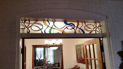 "Custom Made Stained Glass Transom - ""Colorful Ribbons"" (Tw-77)"