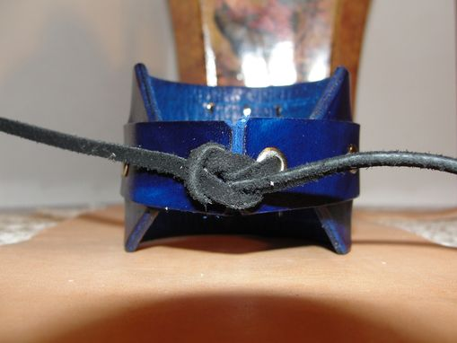 Custom Made 'Blue Leather Bracelet With Pyramid Studs'