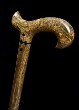 Custom Made Handmade Walking Cane In Sindora Burl And Bolivian Ebony Woods - Walking Stick, Gift Idea, Wood Art