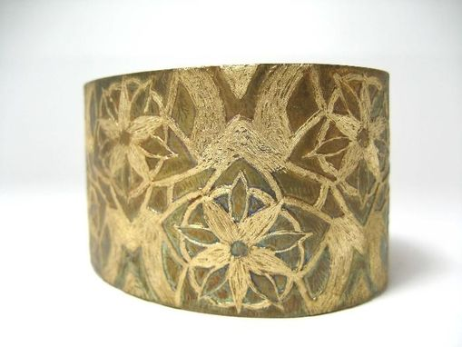 Custom Made Flower Acid Etching Cuff