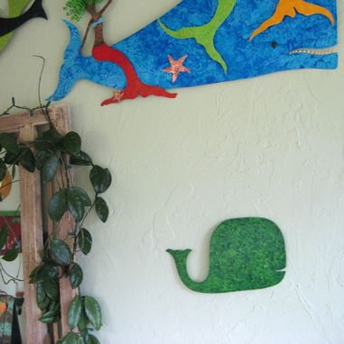 Custom Made Handmade Upcycled Metal Whale Wall Art Sculpture In Green