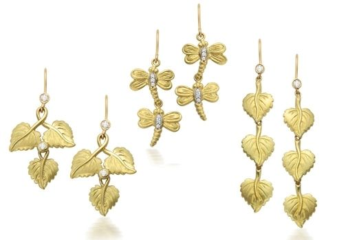 Custom Made Assorted Nature Inspired 18k Green Gold Earrings