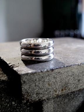 Custom Made Triple Band Modern Guys Ring - Masculine Contemporary Style, Size 10 Oxidized Sterling
