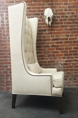 Custom Made Custom Tufted Linen Wingback Arm Chair
