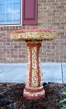 Custom Made Brick Chip River Rock Birdbath Or Planter