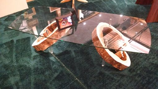 Custom Made Black Walnut Stump Glass Coffee Table