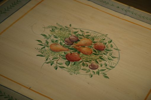 Custom Made Hand Painted Faux Table Cloth On Round Table