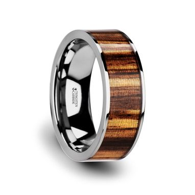 Custom Made Copan Flat Tungsten Carbide Ring With Polished Edges & Real Zebra Wood Inlay - 8mm