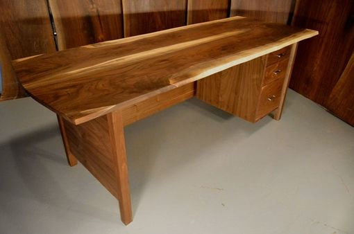 Custom Made 7' Walnut Book Matched Slab Desk With 3 Vertical Drawers