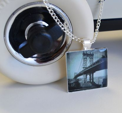 Custom Made Bridge Necklace - Black And White Jewelry - New York Bridge Pendant