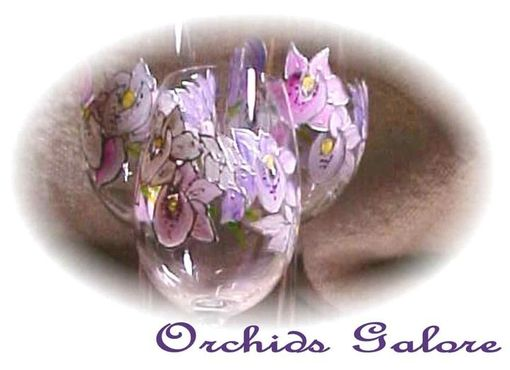 Custom Made Orchid Designed Wine Goblets