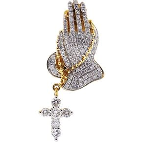 Custom hip hop chains bling pendants custommade mens diamond praying hands cross pendant 14k yellow gold 123 ct by eugene lip aloadofball Image collections