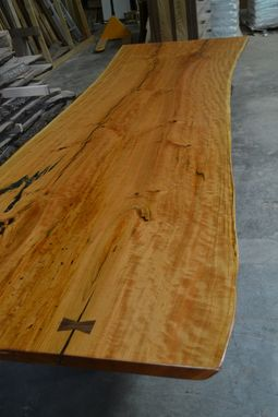 Custom Made Live Edge Cherry Slab Dining / Conference Table With Reclaimed Beam Base