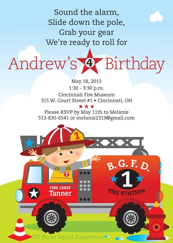 Custom Made Fire Engine Birthday Party Invitation by TBone Squid – Fire Truck Birthday Invitation