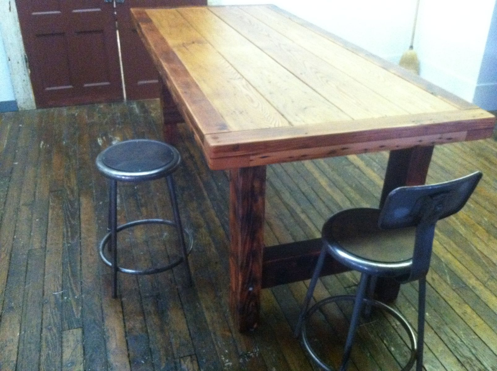 handmade large dining hi top table reclaimed wormy