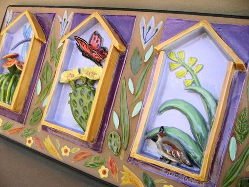 Custom Made Mosaic Ceramic Trio With Cactus And Pretty Flying Things Wall Hanging