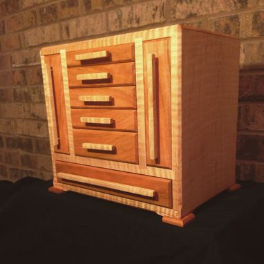 Custom Made Curly Maple And Cherry Jewelry Box