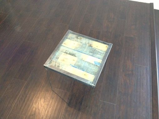 Custom Made Rustic Tri-Colored Wood & Metal Accent Table