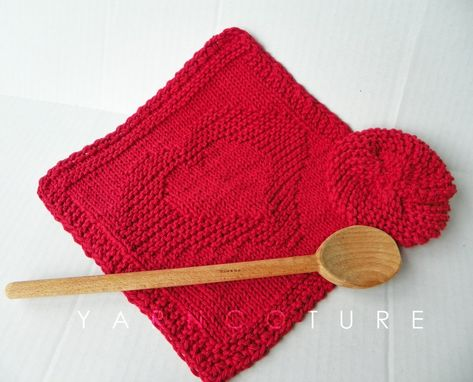 Custom Made Two Hearts In One Dishtowel Set - Hand Knit Dish Cloth And Scrubbie Set / Choose Red Or Natural