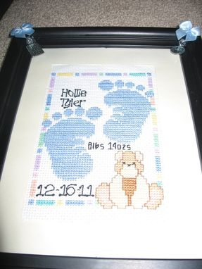 Custom Made Moon And Star Cross Stitch Birth Announcement