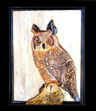 Custom Made Great Horned Owl - Relief Carving By Mark Ash